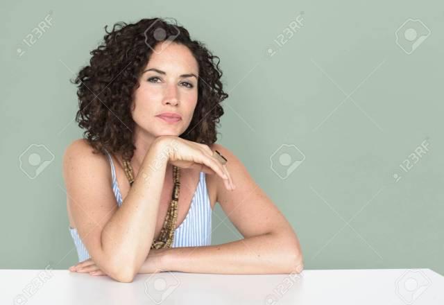 Stock Photo Woman Confidence Self Esteem Prop Chin Portrait