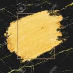 Gold Paint With A Golden Rectangle Frame On A Black Marble Background Stock Photo Picture And Royalty Free Image Image 122424162