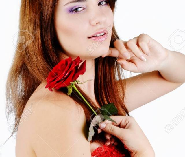 Stock Photo Sweet Teen Girl With Rose Over The White