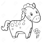 Baby Horse Cartoon Black And White Coloring Smile Isolated Simple Royalty Free Cliparts Vectors And Stock Illustration Image 66090614