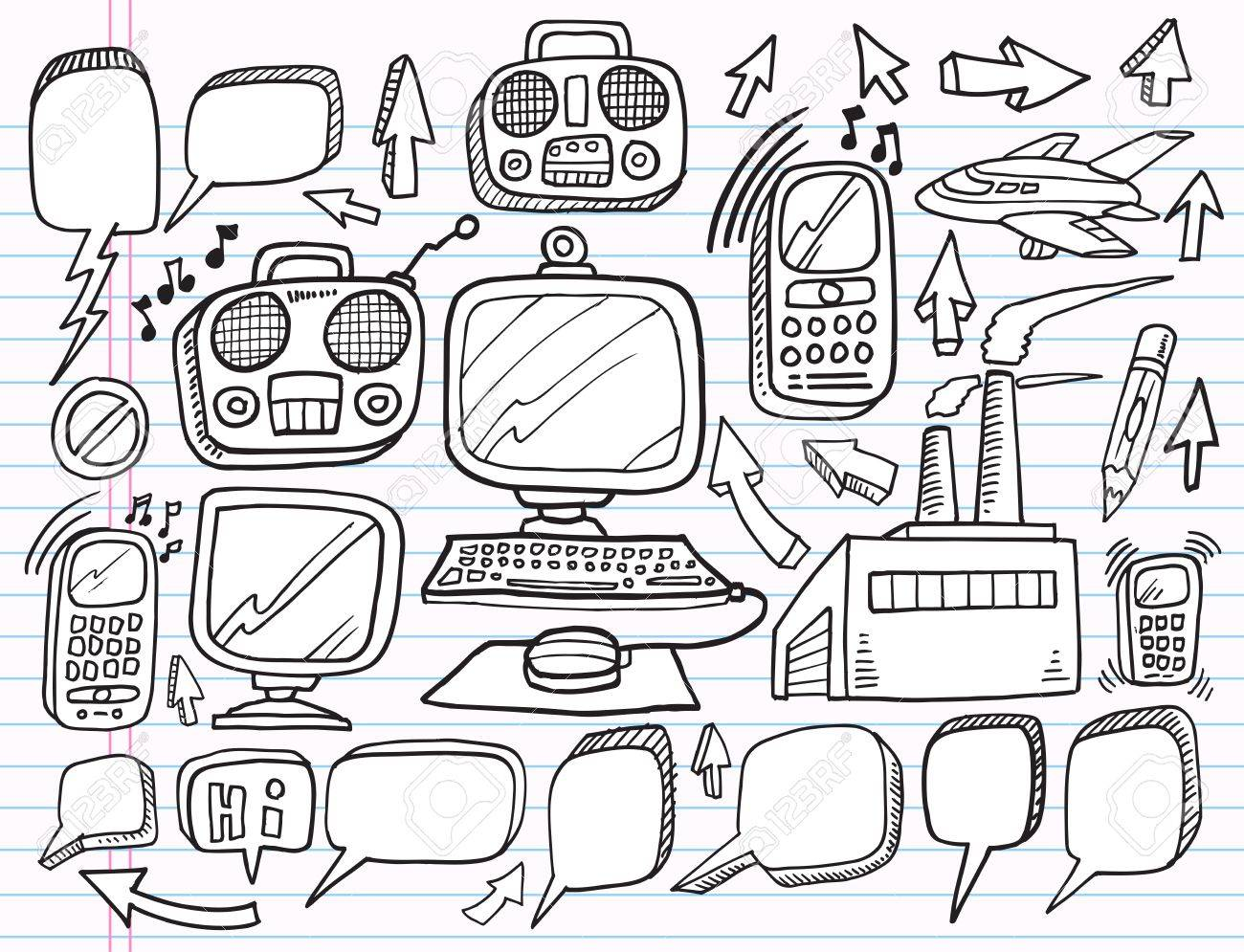 Notebook doodle electronics work business design elements vector