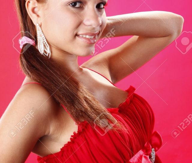 Cute Teen In Red On Red Stock Photo 7848106