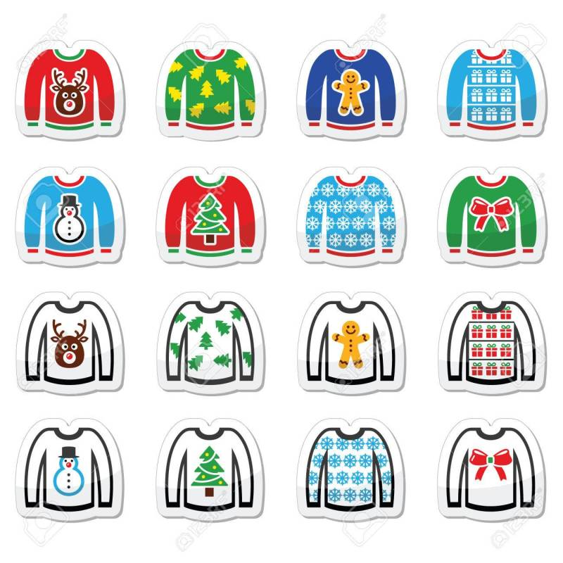 698845fe0 Ugly Christmas Sweater On Jumper Icons Set Royalty Free Cliparts. Ugly  Christmas Sweater Clipart Commercial Use Digital ...
