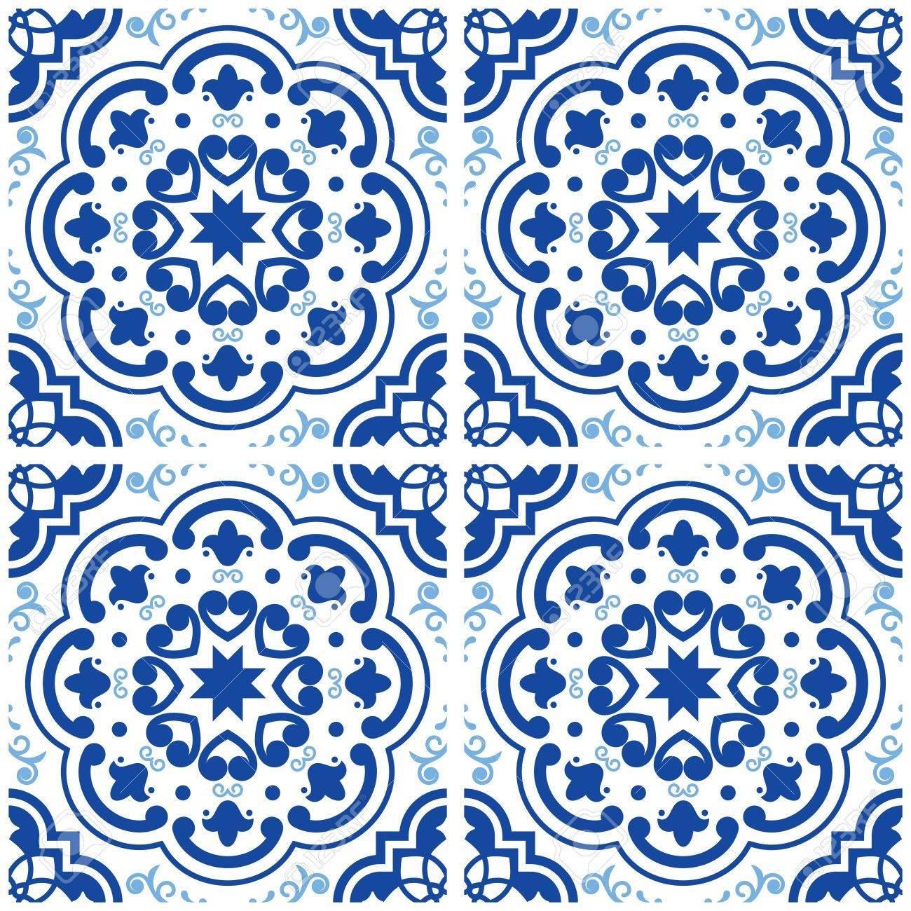 azulejos motif de sol en carrelage portugais mosaique bleu indigo de lisbonne design ceramique geometrique vintage fond de vecteur espagnol