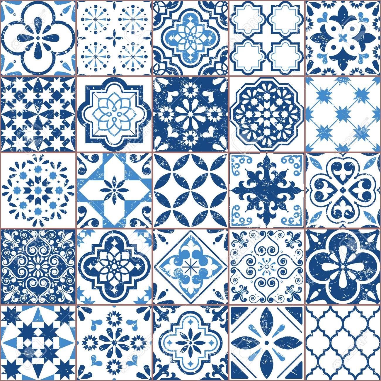 vector azulejo tile pattern portuguese or spanish retro old