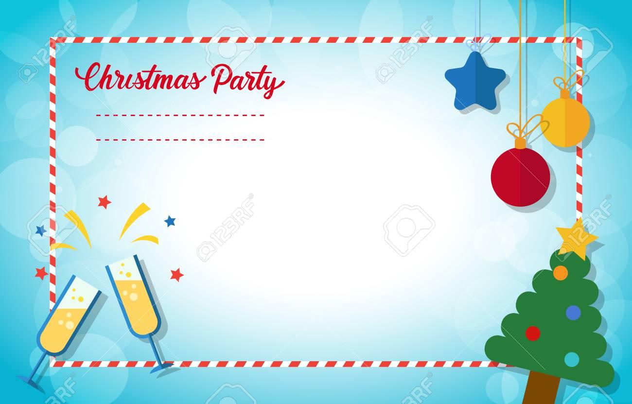 conception de cartes d invitation de noel fete de noel lettres calligraphiees avec sapin decore boules suspendues verres de champagne modele