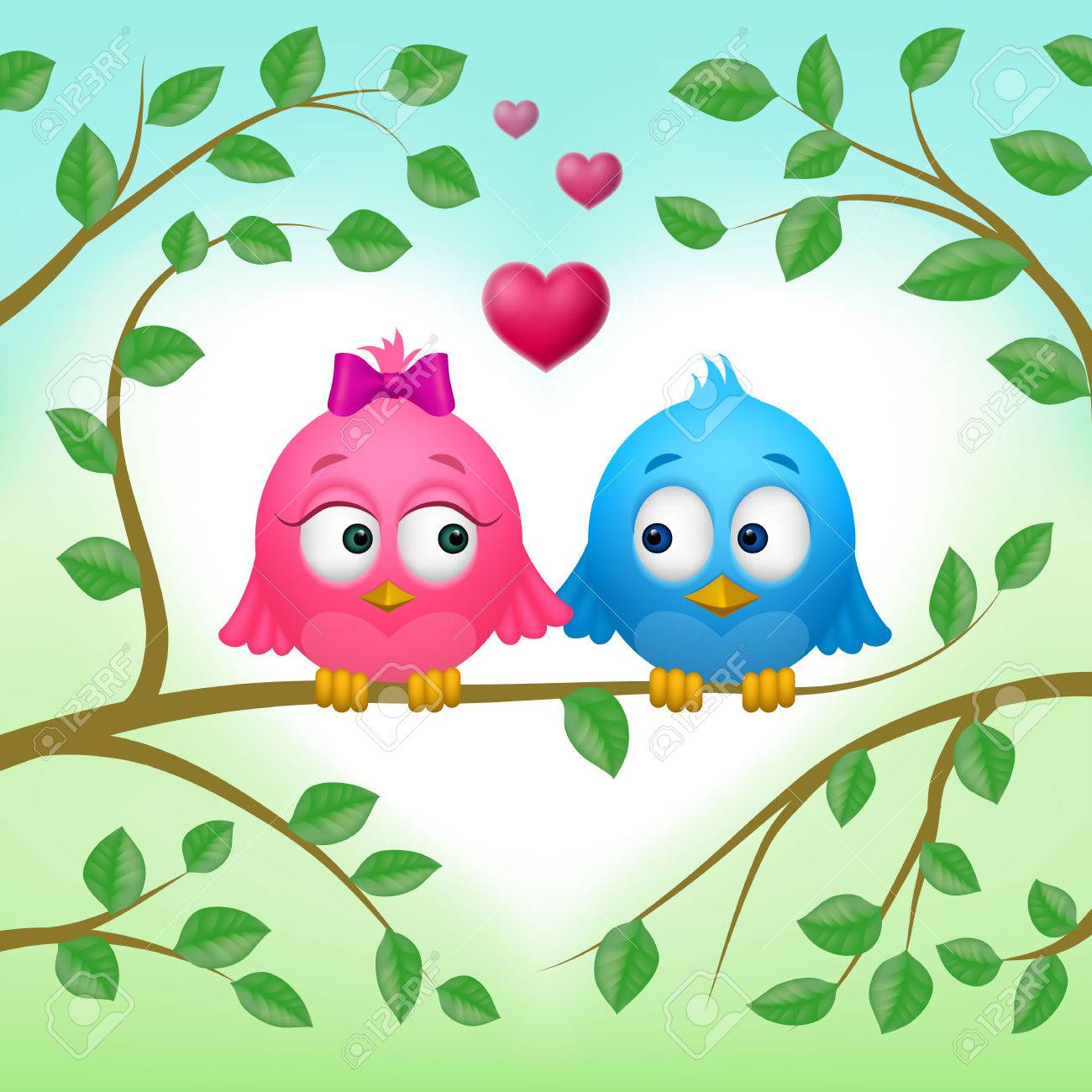 Couple Of Two Cute Birds In Love On Branch Royalty Free Cliparts Vectors And Stock Illustration Image 70029421