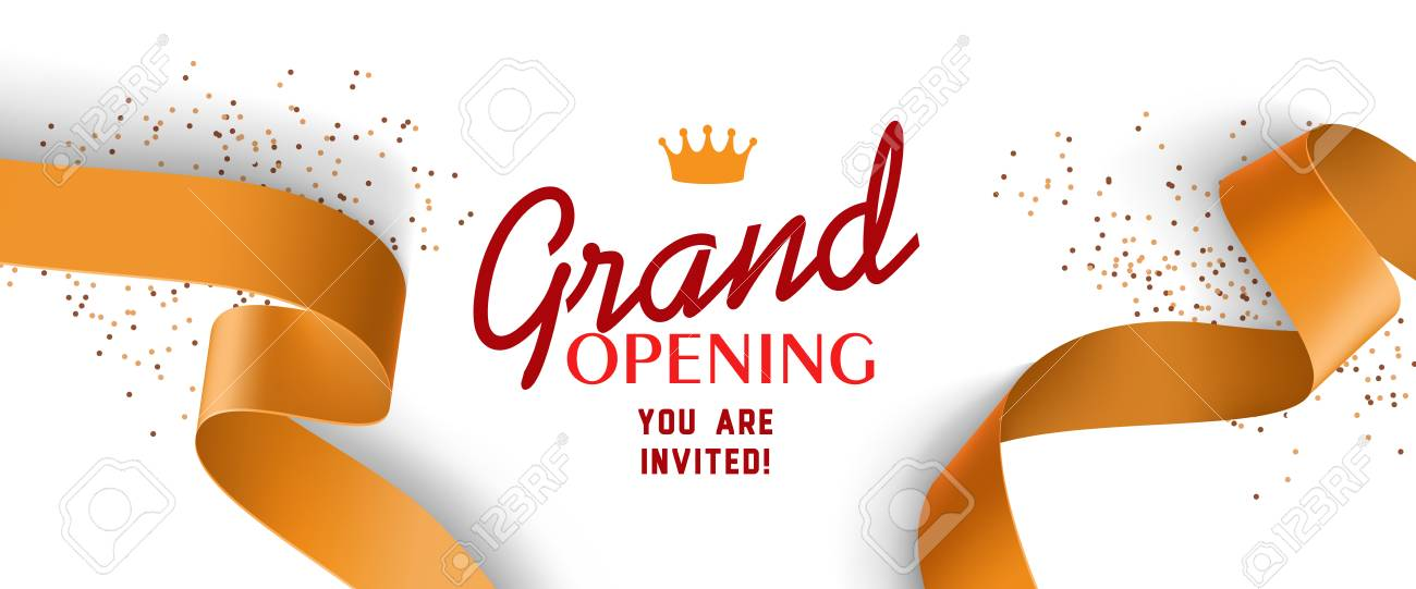 grand opening invitation design with gold ribbons crown and