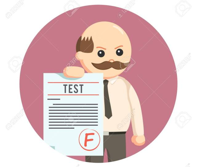 Male Teacher Giving F Grade In Circle Background Stock Vector 73853564