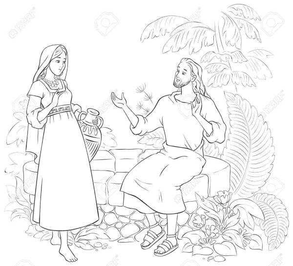 woman at the well coloring page # 3