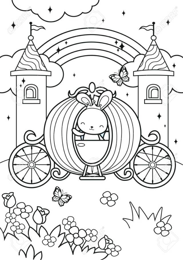 Princess Bunny Ride On Carriage In The Castle Coloring Pages