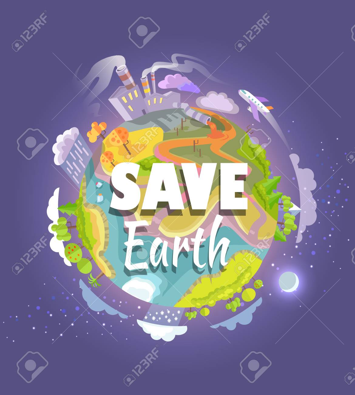 Save Earth Agitation Poster With Planet Space View Royalty Free Cliparts Vectors And Stock Illustration Image 87431016