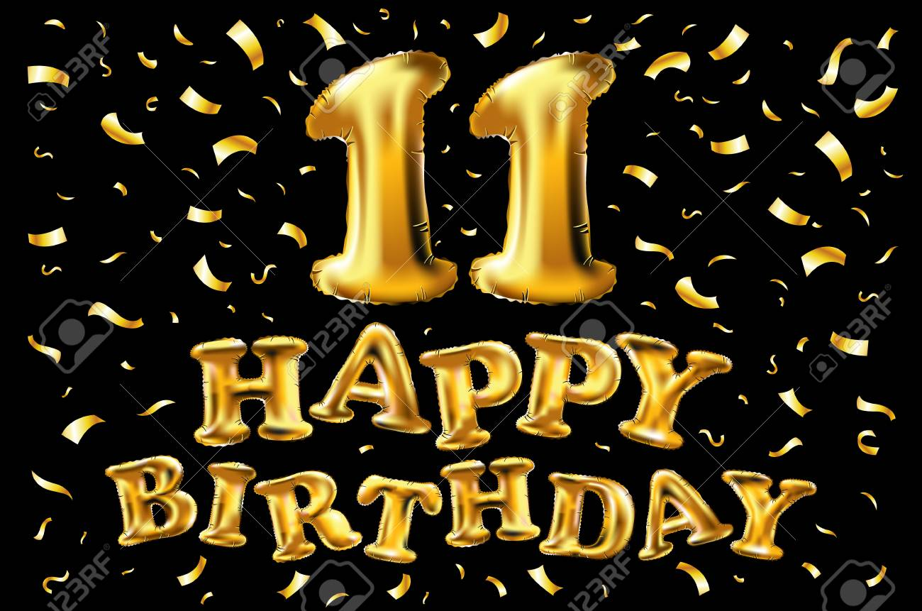 11th birthday celebration with gold balloons confetti glitters