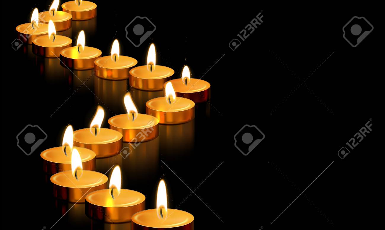 candle light or golden candles decoration of burning flame golden