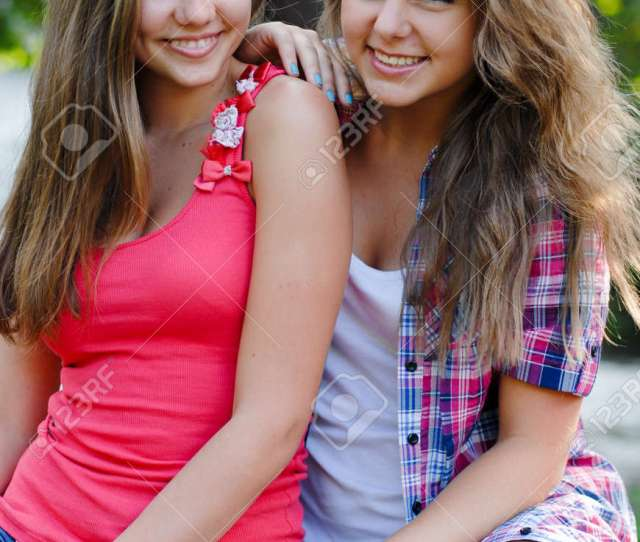 Portrait Of Attractive Two Teen Female Girls Women Best Friend Having Fun Stock Photo
