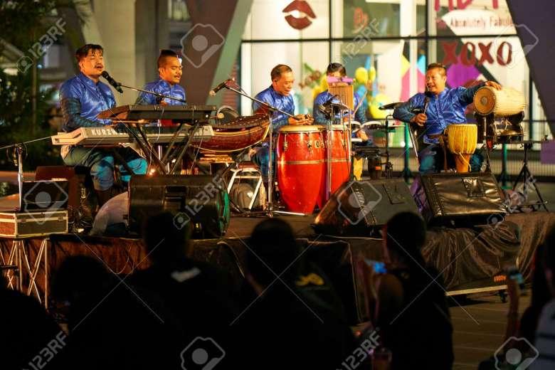 bangkok, thailand - july 21, 2017: music band playing traditional