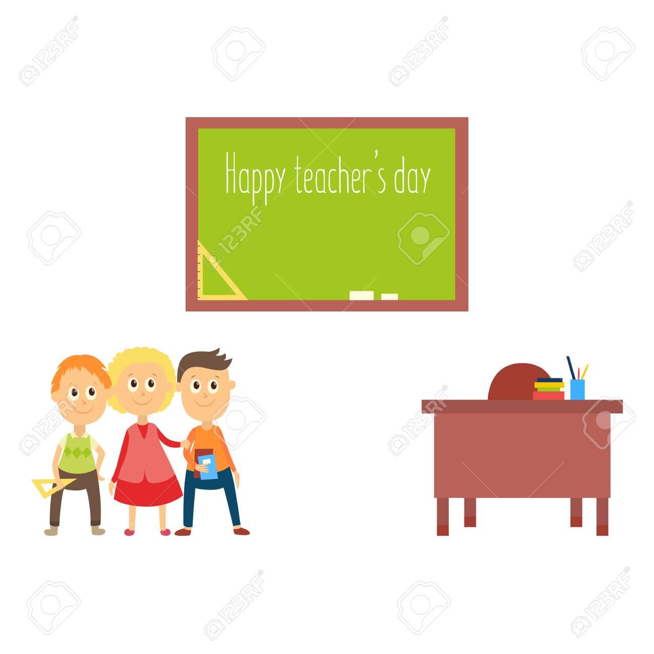 carte de voeux joyeux enseignant jour avec les ecoliers les enfants debout au tableau noir illustration de vecteur de dessin anime plat isole sur