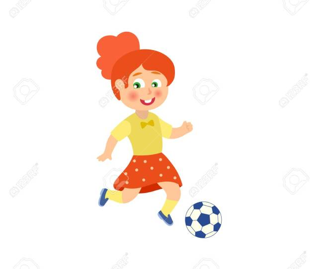Vector Vector Flat Cartoon Cute Young Teen Girl Playing Football Female Woman Athlete In Sport Summer Clothing Smiling Isolated Illustration On A White