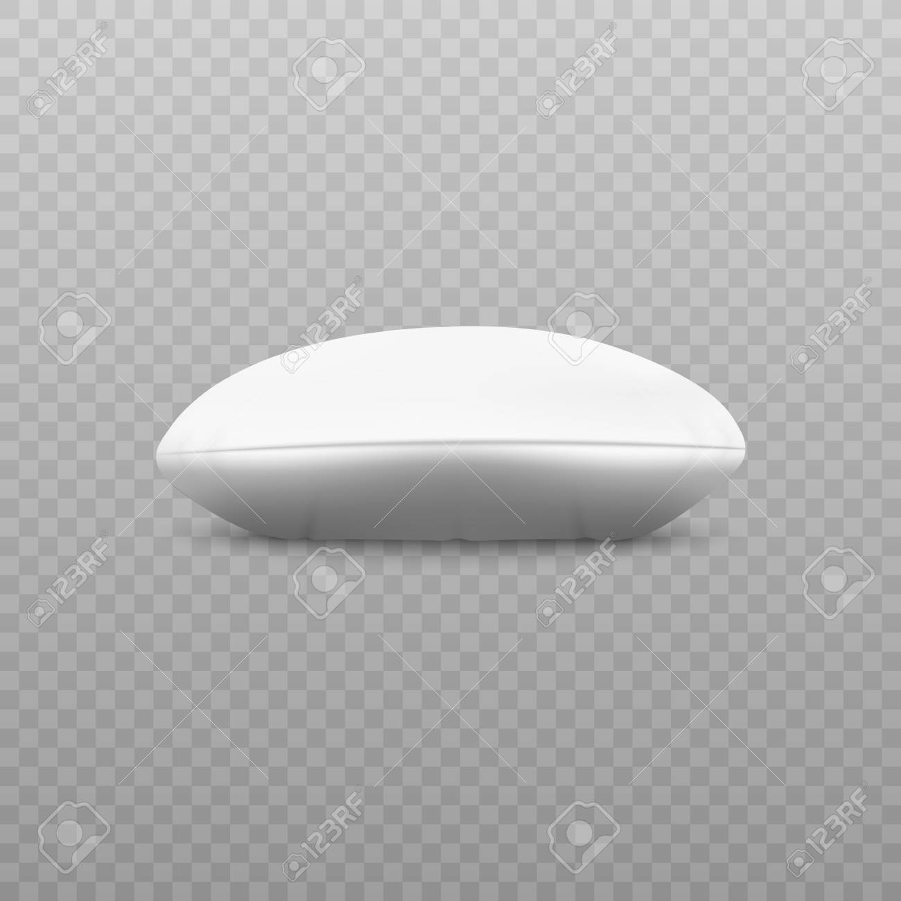 white round pillow side view lying on surface realistic 3d