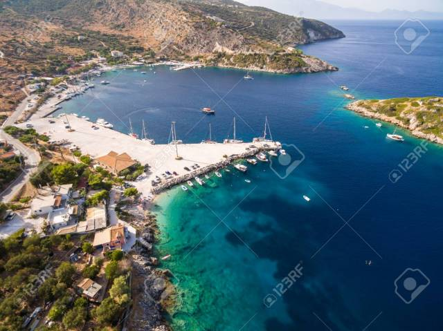 Aerial View Of Agios Nikolaos City In Zakynthos (Zante) Island, In Greece Stock Photo, Picture And Royalty Free Image. Image 111832667.