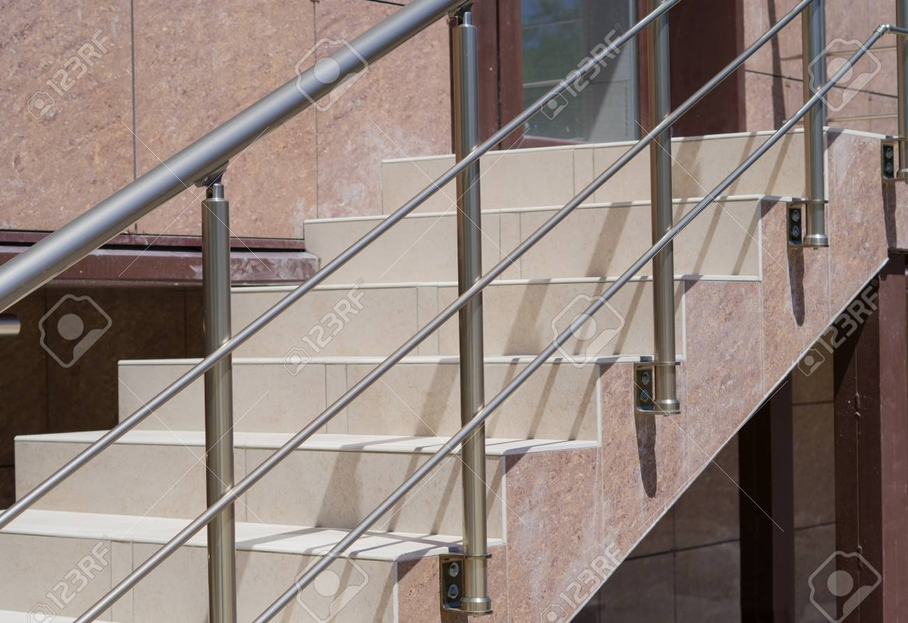 Flight Of Stair Steps Outside A Building Stock Photo Picture And   Metal Steps For Outside   Backyard   Steel Construction   Easy   Utility   Outdoors
