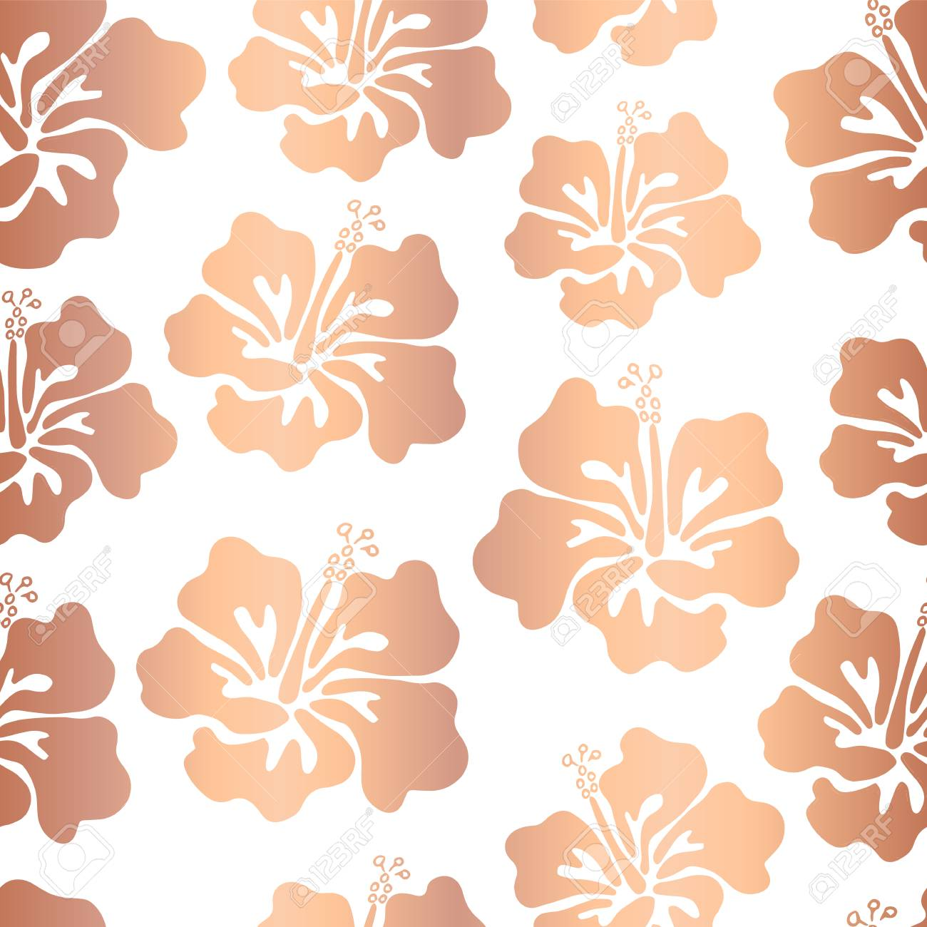 rose gold copper foil hibiscus flower vector seamless pattern