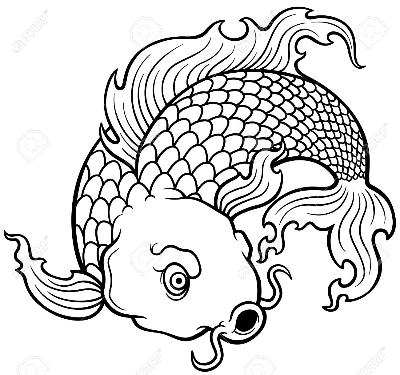 Vector Illustration Of Koi Fish Coloring Book Royalty Free Cliparts Vectors And Stock Illustration Image 27322044