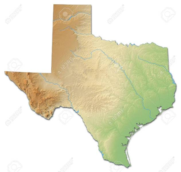 Relief Map Of Texas  A Province Of United States  With Shaded     Relief map of Texas  a province of United States  with shaded relief  Stock