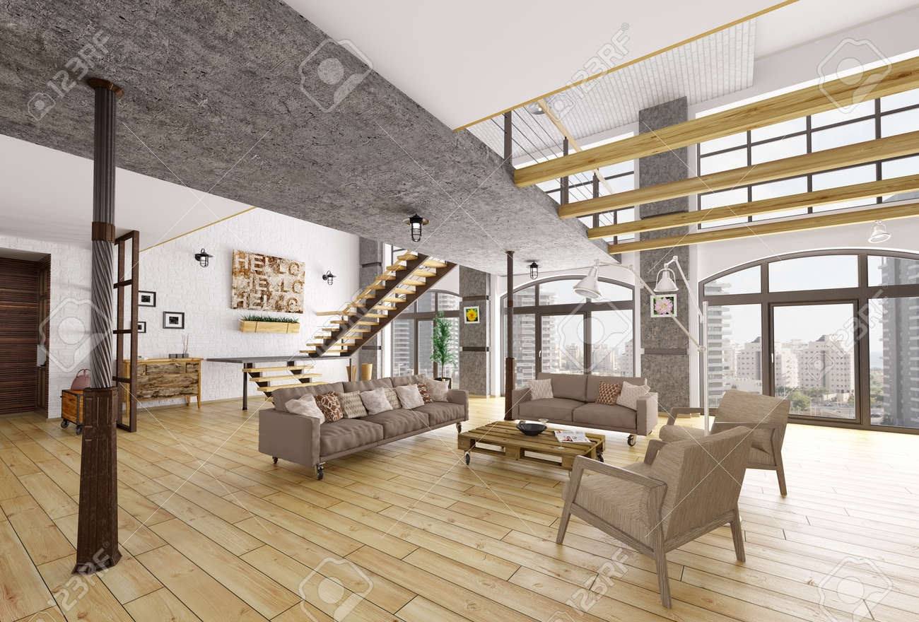 Loft Apartment Interior Living Room Staircase 3D Rendering Stock | Staircase Inside Living Room | Kitchen Stair | Apartment | Inside Lounge | Staircase Tv | Private Home
