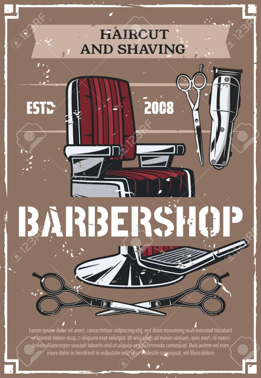 barbershop salon retro poster vector barber shop beard shave