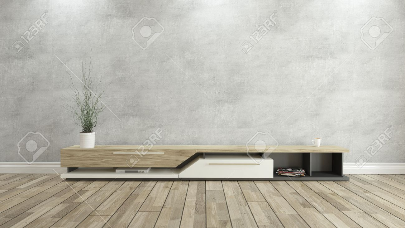 meuble tv avec mur de beton et bois fond de parquet pour la conception