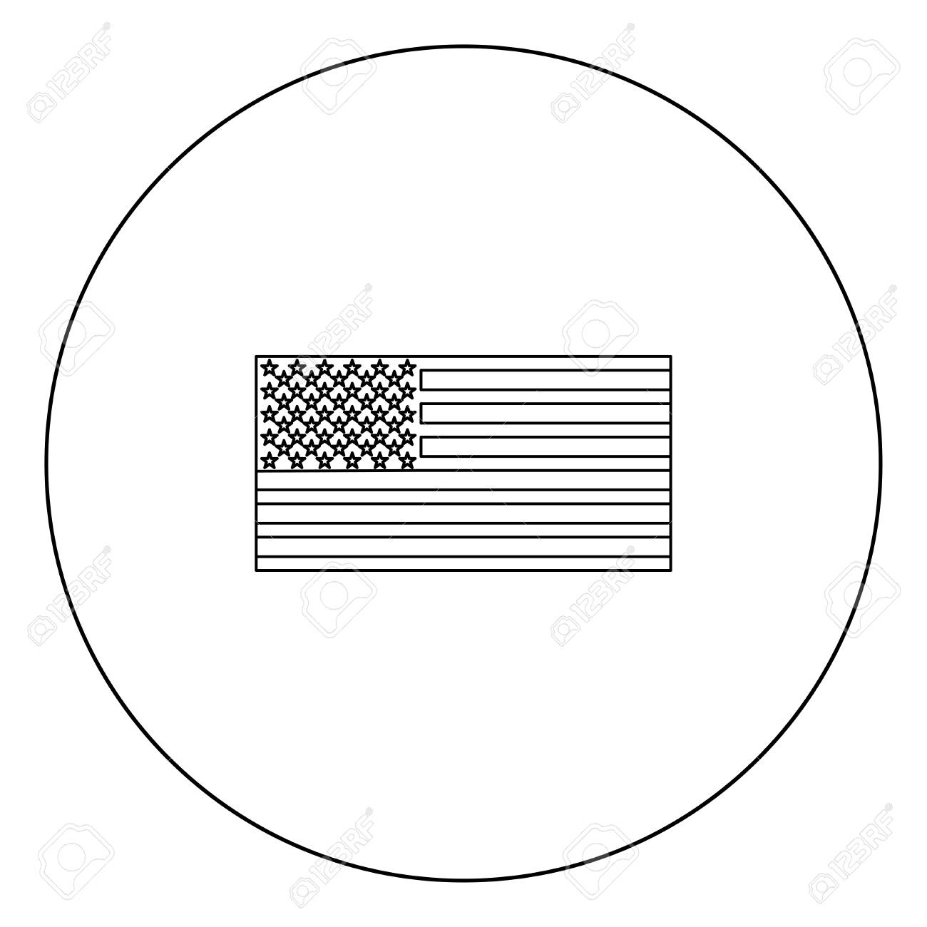 American Flag Icon Black Color In Circle Outline Vector Illustration Royalty Free Cliparts Vectors And Stock Illustration Image 102336171