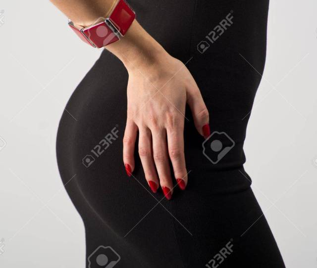 Beautiful Ass In Black Dress Stock Photo