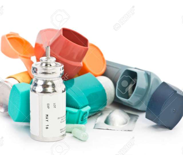 Colorful Asthma Inhalers And Asthma Medication On White Background Albuterol Sulfate Is A Common Non