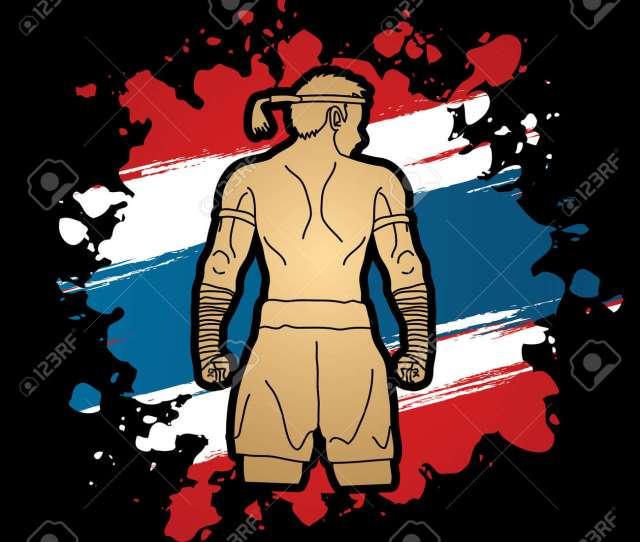 Muay Thai Thai Boxing Sport Pose Design On Thailand Flag Background Stock Vector