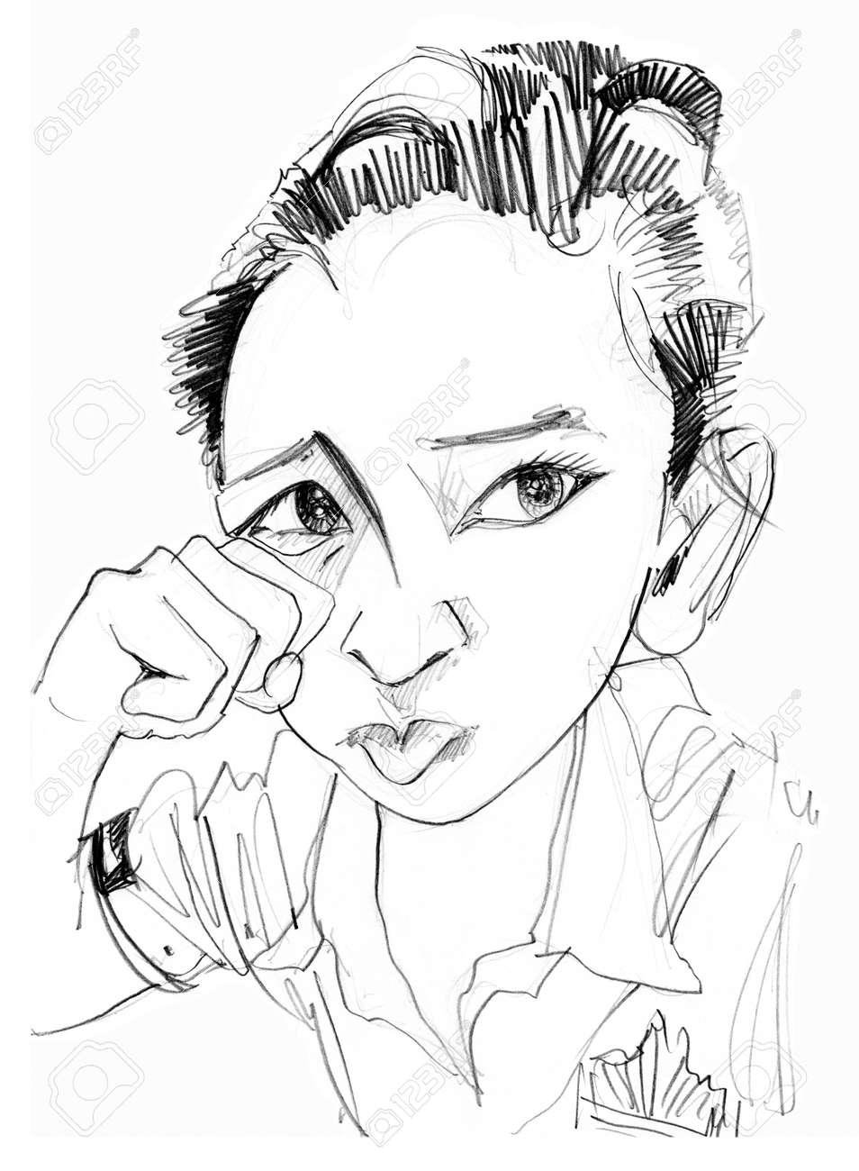 le symbole de la main par interim fait semblant de pleurer et une levre inferieure saillante pour attirer l attention des memes enfants dessin au crayon de caractere noir et blanc banque d images