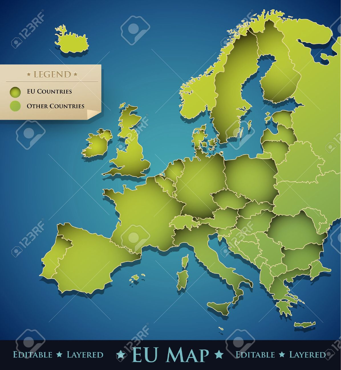Vector Europe Map With European Union  EU  Countries   Great     Vector   Vector Europe map with European Union  EU  countries   great  decoration design element for a professional website  brochure  banner   creative art