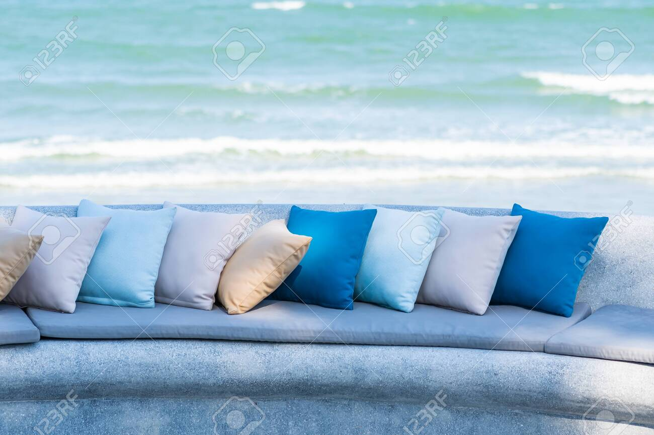 https www 123rf com photo 140884813 pillow on chair or sofa lounge around outdoor patio with sea ocean beach view for travel html