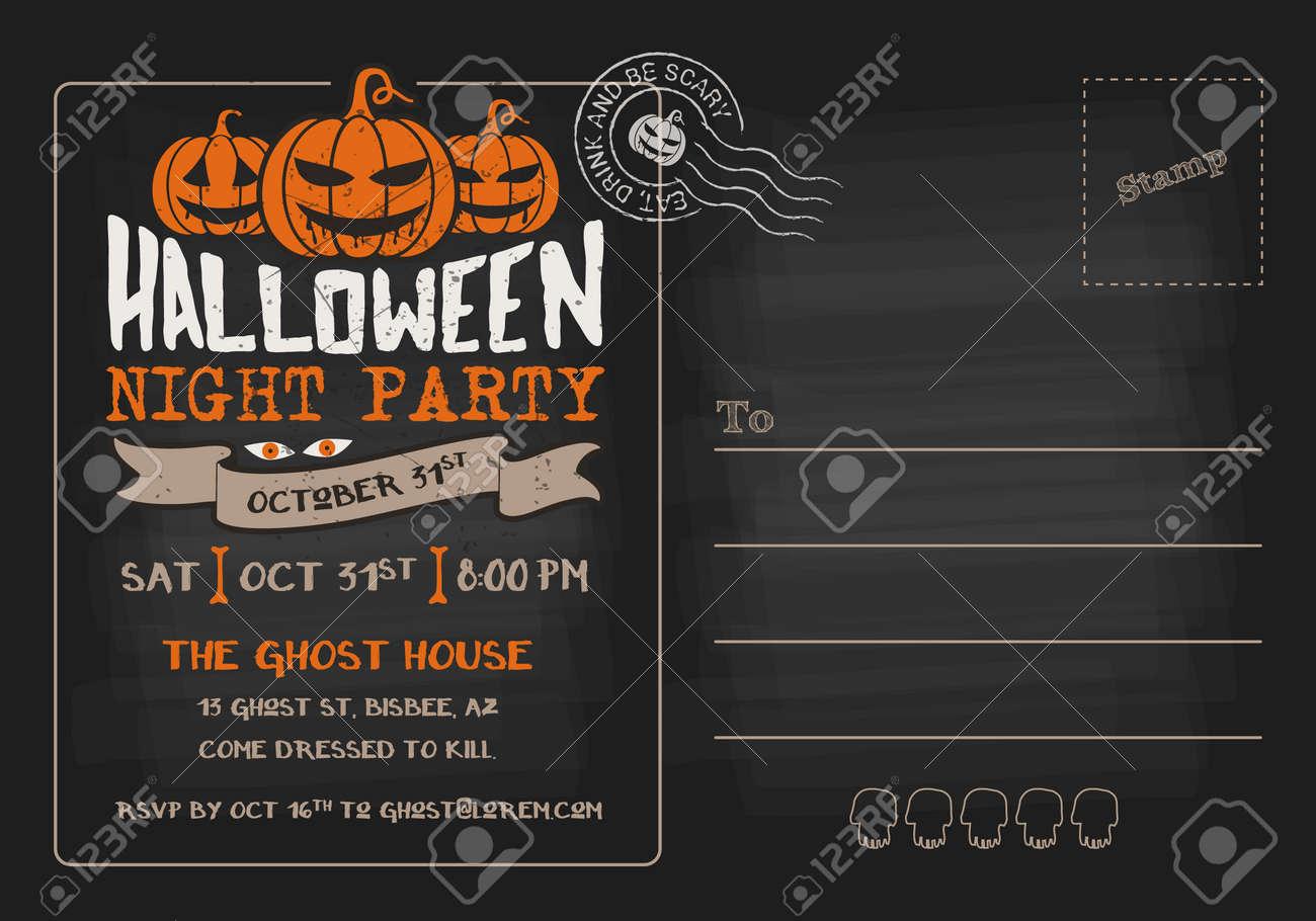 party d halloween et concours de costumes carte postale modele d invitation
