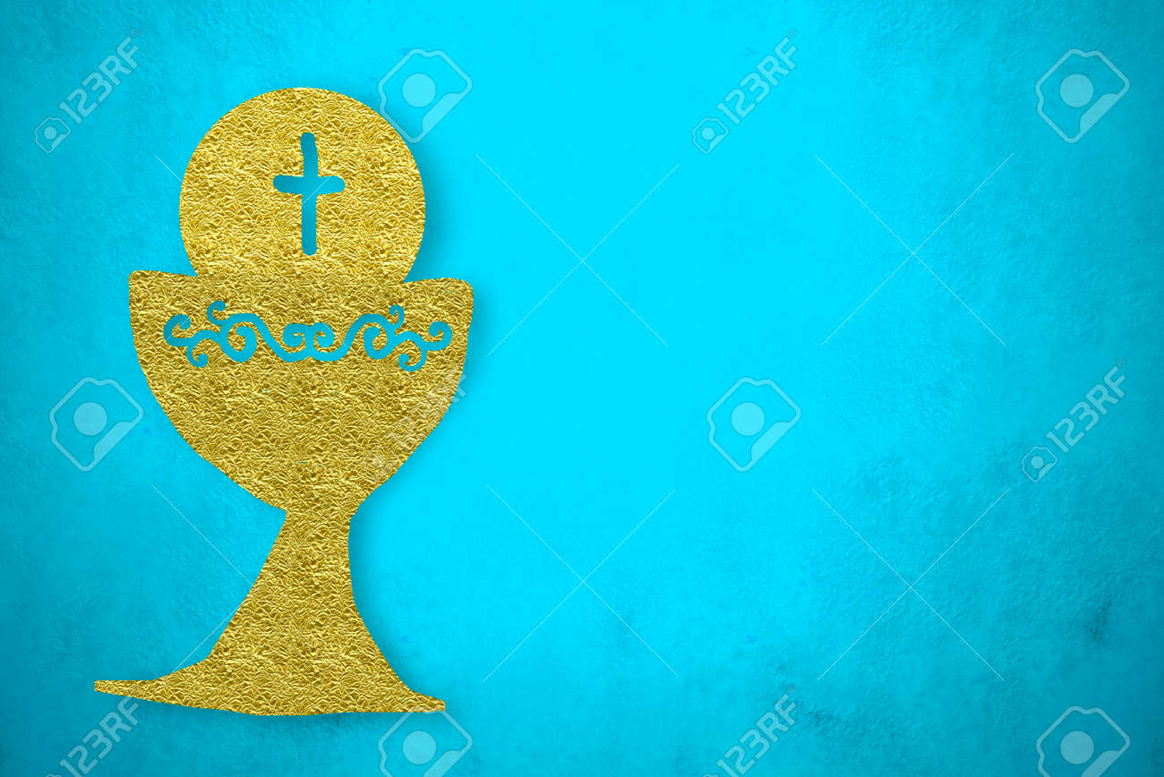 first holy communion invitations gold chalice on blue background