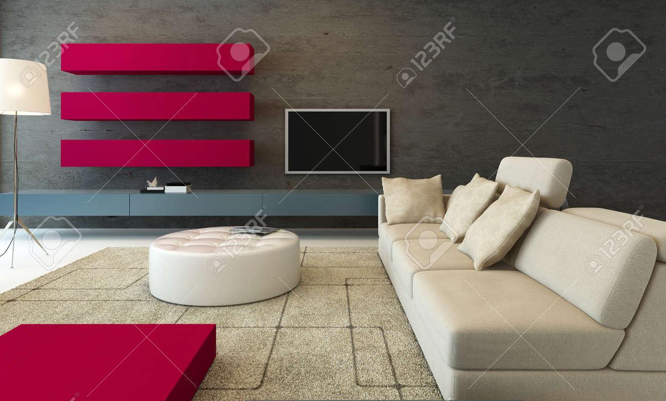 couleur design interieur moderne de salon avec des meubles gris rose