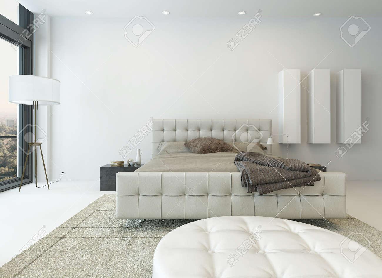 banque d images interieur de chambre a coucher blanc lumineux avec de beaux meubles
