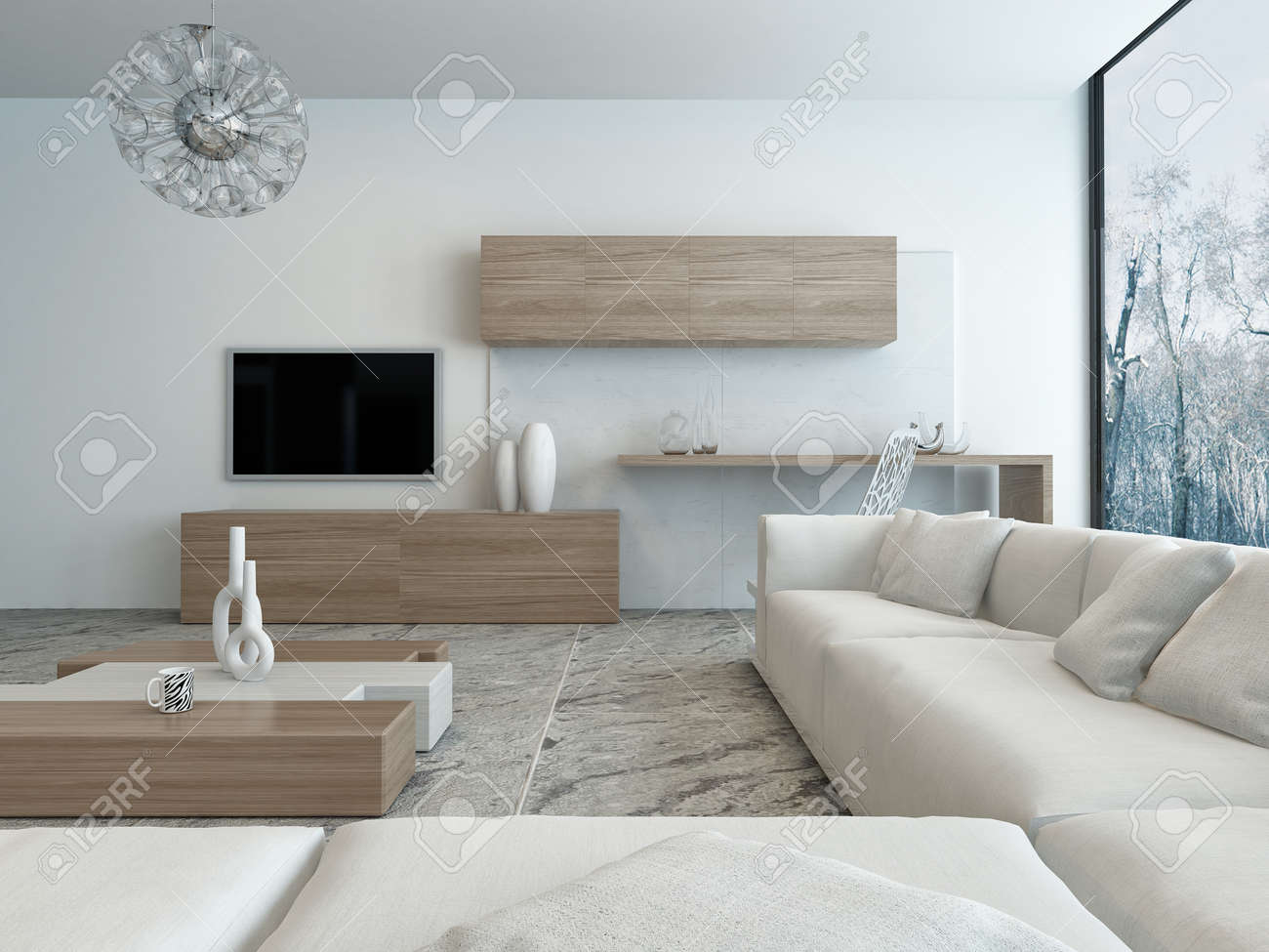 interieur moderne de salon de style en bois clair