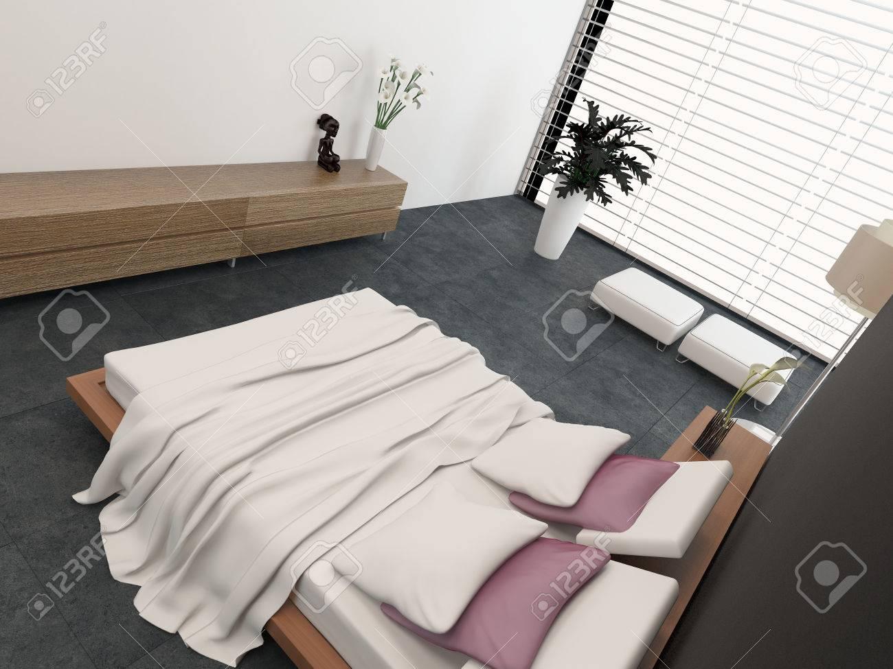 high angle de vue d un lit orthopedique ajustable dans un interieur moderne de chambre a coucher avec un grand mur de verre recouverte de stores et des