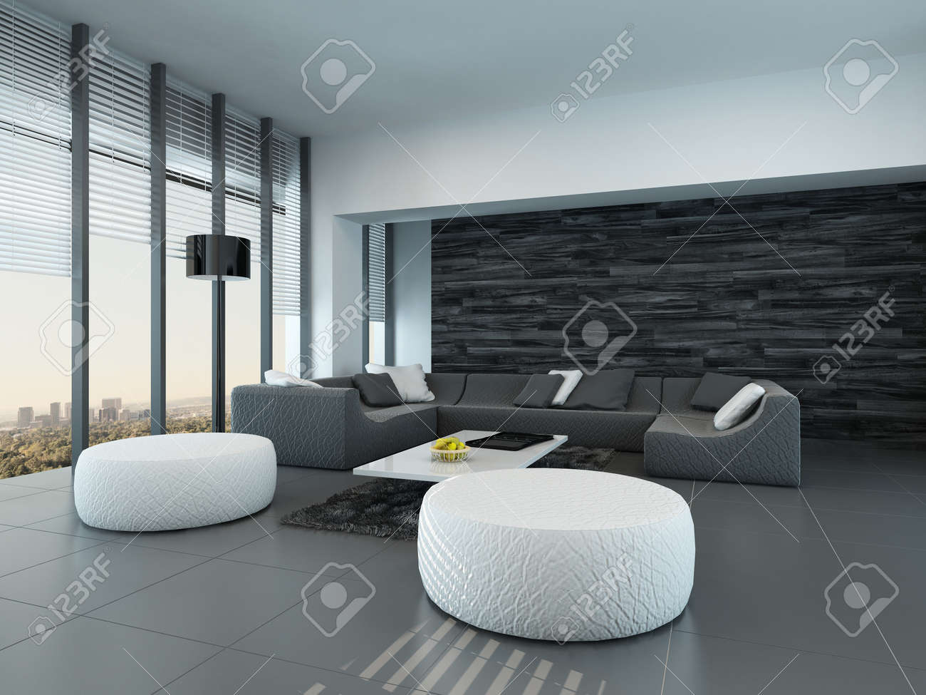 Tilted Perspective Of A Modern Grey And White Living Room Interior
