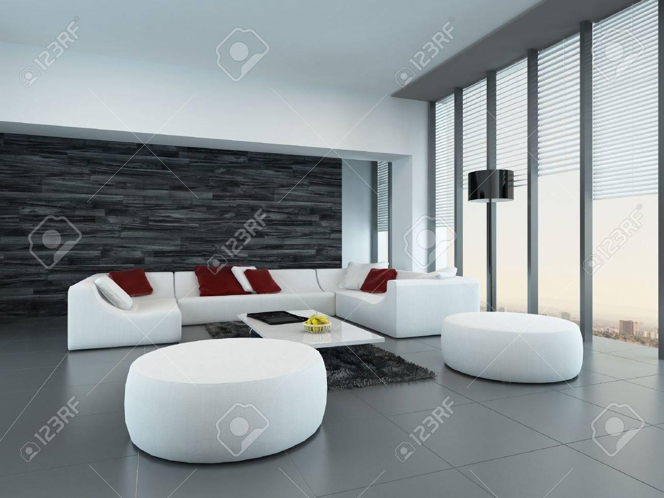 perspective inclinee d un gris et blanc salon moderne interieur avec des poufs et un grand canape en face des fenetres du sol au plafond de verre