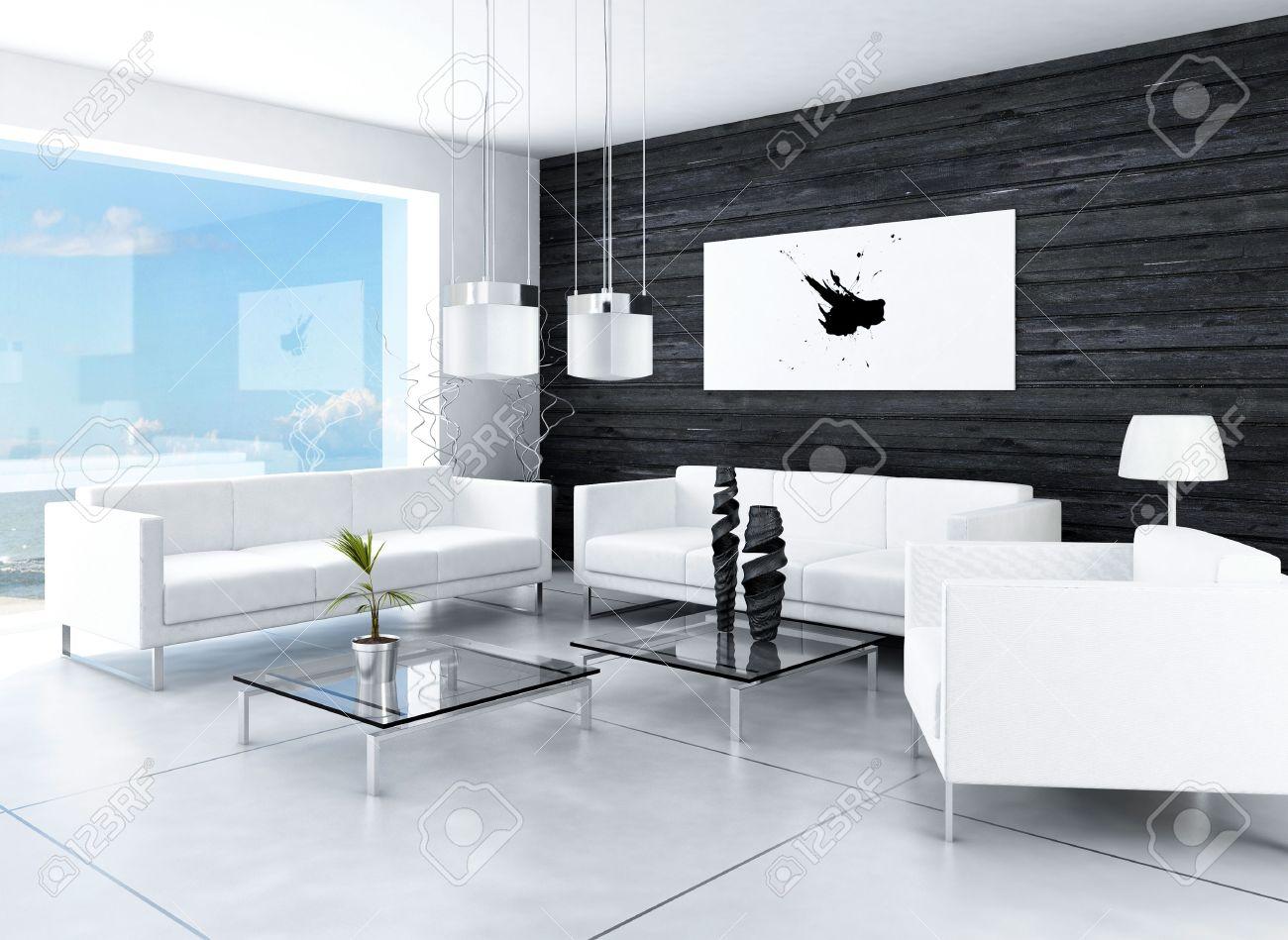 le design moderne interieur de salon noir et blanc