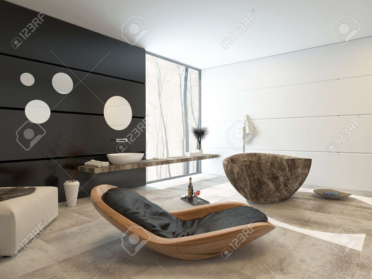 design contemporain dans un interieur d une salle de bains de luxe avec un confortable fauteuil inclinable bois pouf marbre motif mur d accent ovale