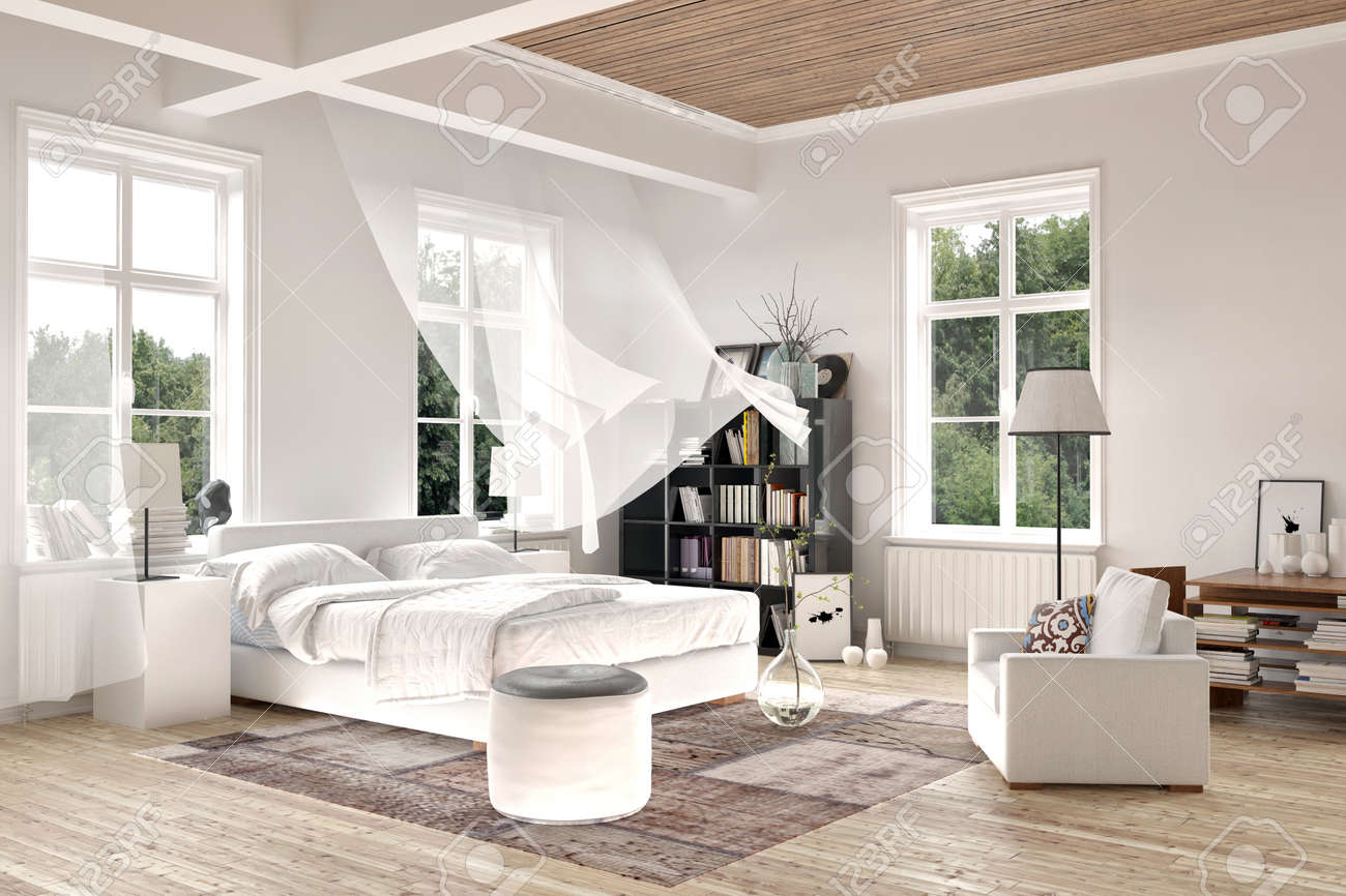 bright white luxury rendered bedroom interior with blowing curtains stock photo picture and royalty free image image 38112683