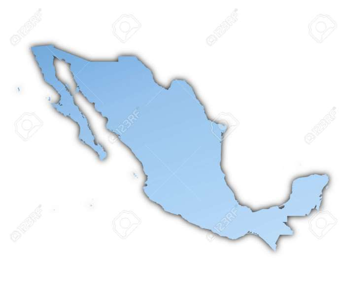 Mexico Map Light Blue Map With Shadow  High Resolution  Mercator     Mexico map light blue map with shadow  High resolution  Mercator  projection  Stock Photo